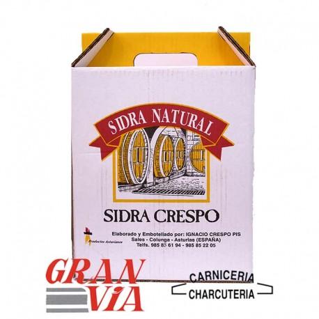 Sidra natural asturiana Crespo 5 botellas y vaso